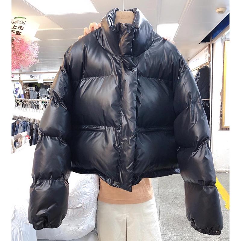 1228#官圖實價 2021冬裝新款短款立領羽絨服外套女加厚面包服棉衣