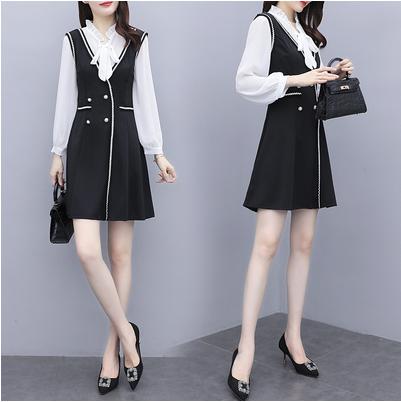 TS59044#秋款连衣裙秋装新款女减龄显瘦御姐两件套装时髦气质轻熟风