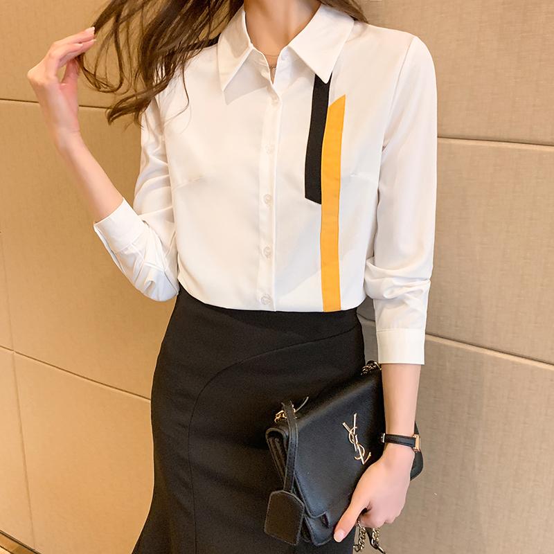 实拍2021春季新款衬衫女设计感小众洋气宽松雪纺上衣韩版大码衬衣