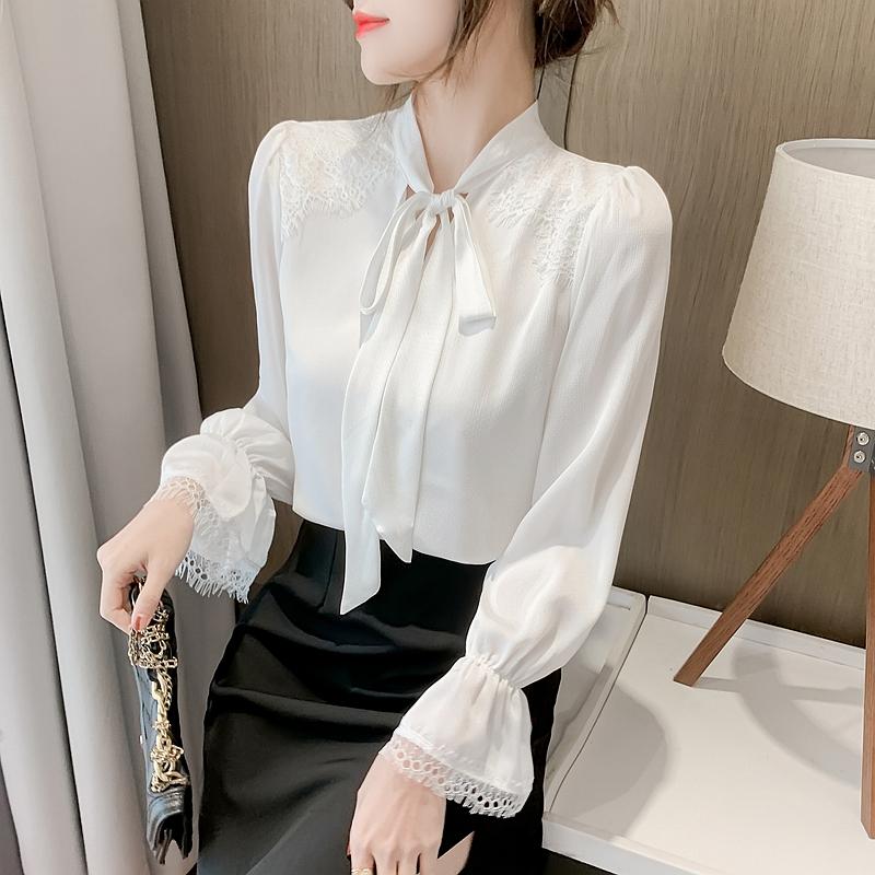 实拍 2021春新款显瘦气质衬衫女雪纺衫长袖蝴蝶结打底衫小衫