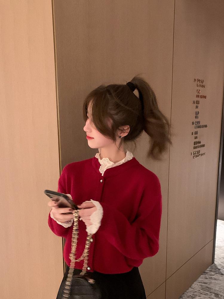 小谷粒蕾絲拼接毛衣2020年新款女冬季慵懶風韓版寬松加厚針織上衣