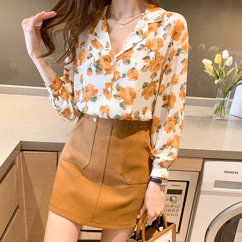 实拍2021春季新款花朵印花雪纺衬衫女上衣心机设计感洋气长袖衬衣