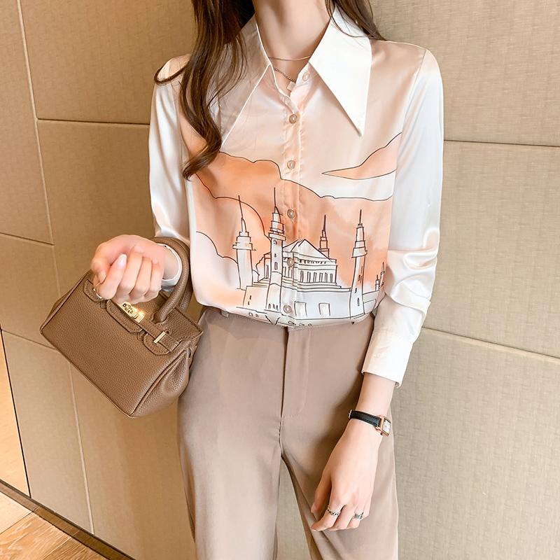 实拍2021春季新款女装 手绘印花单排扣翻领衬衫 女