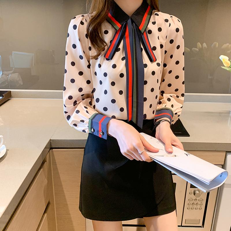 实拍衬衫女长袖桑蚕丝新款2021年时尚洋气高端波点印花上衣