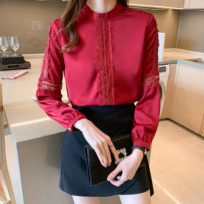 实拍红色衬衫女2021春装新款高端缎面绣花立领长袖桑蚕丝上衣