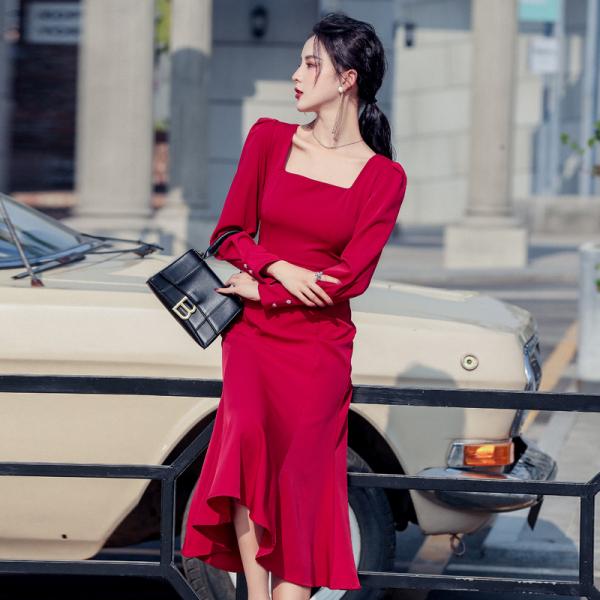 TS58873#有视频!法式复古红色连衣裙赫本修身包臀鱼尾长裙气质礼服春装...