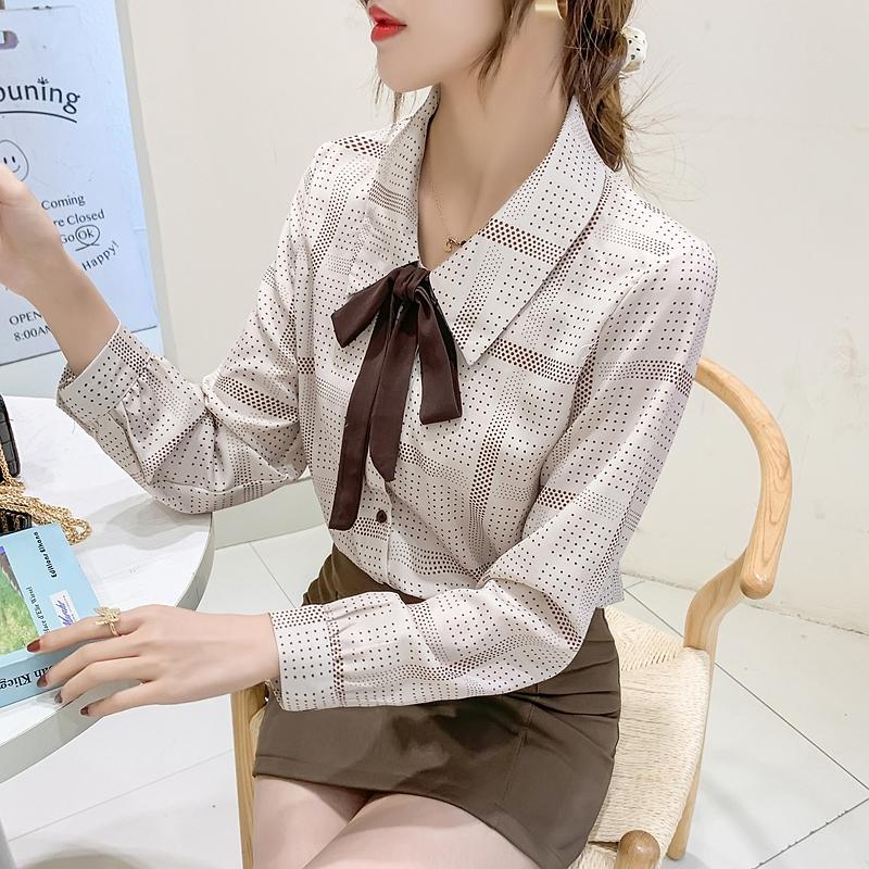 实拍雪纺衬衫女2021春季复古港味设计感长袖时尚洋气波点气质衬衣