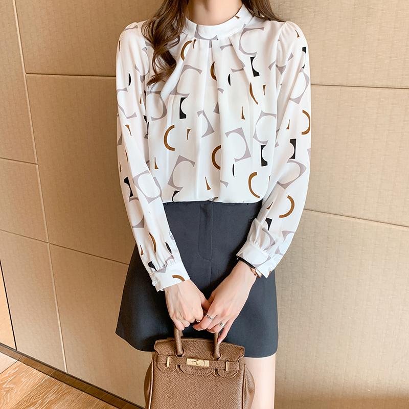 实拍洋气雪纺衫衬衫女春装2021新款长袖打底衫小衫韩版圆领上衣女