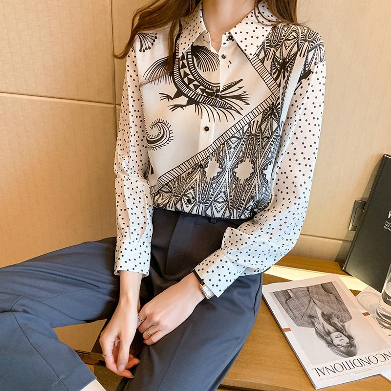 实拍黑白衬衫女2021春装新款时尚简约印花百搭长袖桑蚕丝上衣