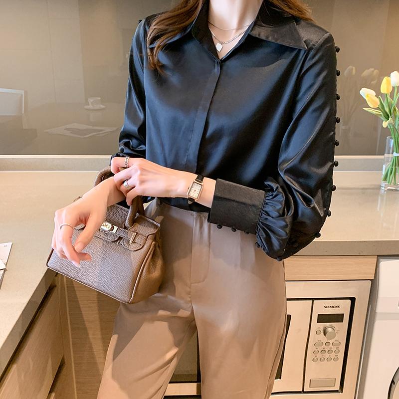 实拍衬衫女小众镂空袖上衣2021春装新款气质桑蚕丝长袖衬衣