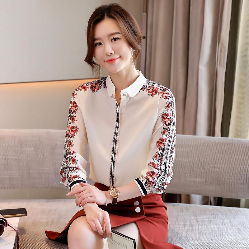 实拍真丝女士衬衫设计感衬衣小众春季新款复古印花气质长袖上衣