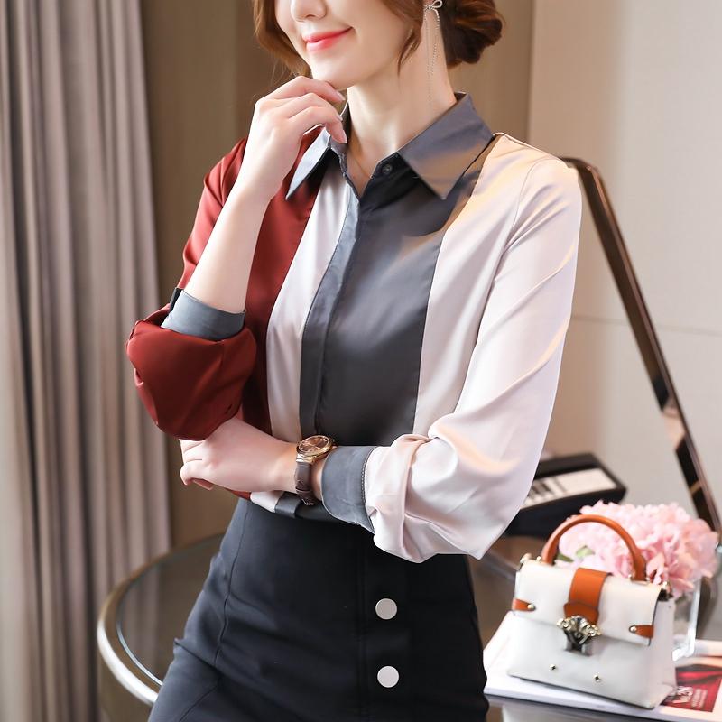 时尚竖条纹撞色光泽感弹力缎面真丝衬衫2021春装新款雪纺上衣女