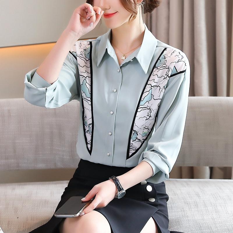 实拍长袖衬衫女创意印花设计感2021春装新款宽松衬衣