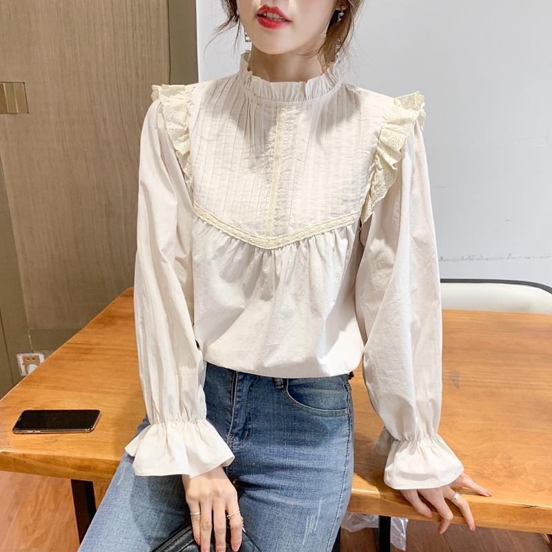 复古雪纺衬衫女法式灯笼袖衬衣2021新款韩版长袖宽松早春chic上衣