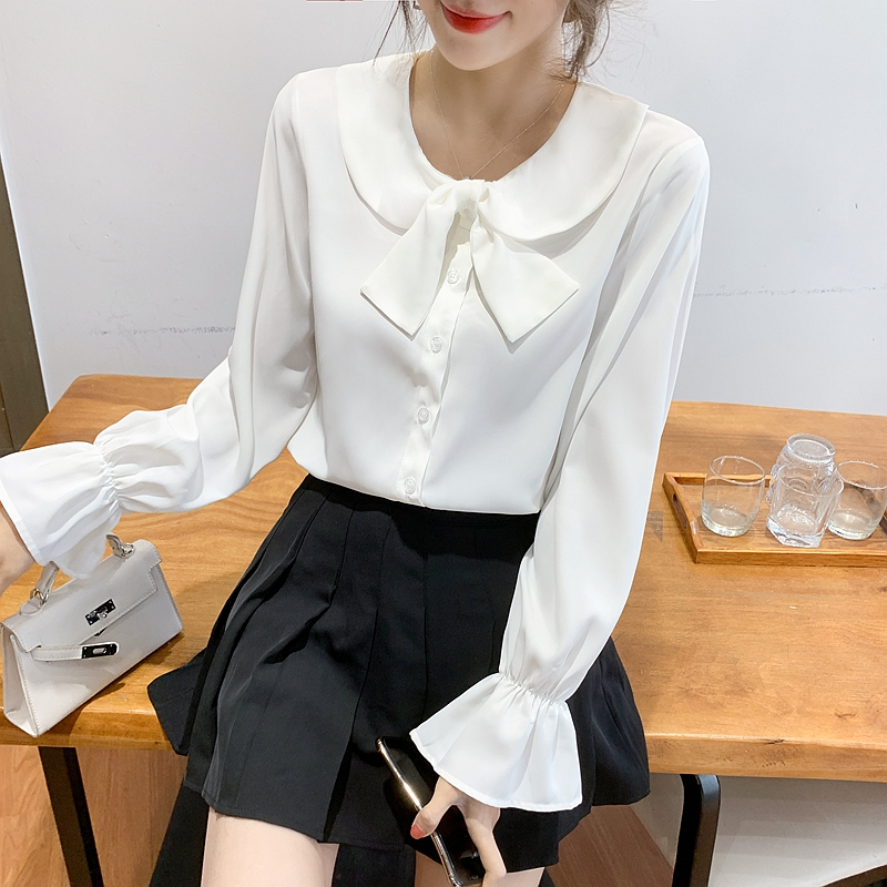 甜美减龄娃娃领长袖衬衫女春秋2021新款韩版宽松泡泡袖雪纺上衣
