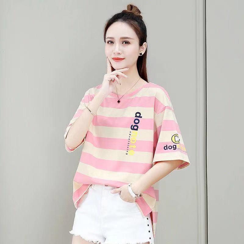 2021年夏季新款潮半袖上衣网红ins超火宽松韩版条纹短袖T恤
