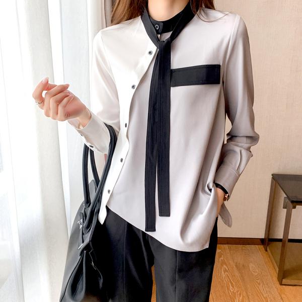 RS2171#撞色蝴蝶结系带衬衫女长袖春季新款小众设计感不规则衬衣