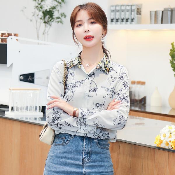 RS2265#印花衬衫女长袖春季新款时尚洋气显瘦气质雪纺小衫上衣潮