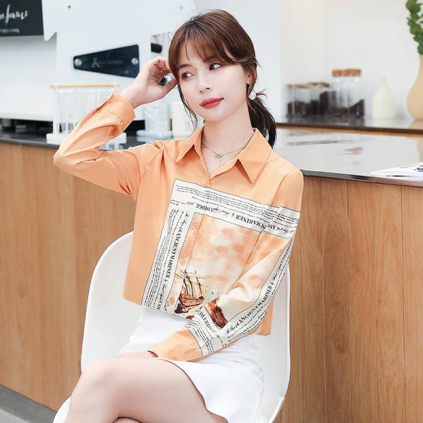 RS2266#印花衬衫女春季新款长袖小众设计感新款气质时尚洋气上衣女潮