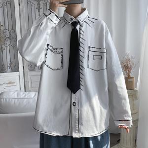 KY7563#长袖男尖领港风手绘涂鸦新款衬衫气质青年ins流行潮流