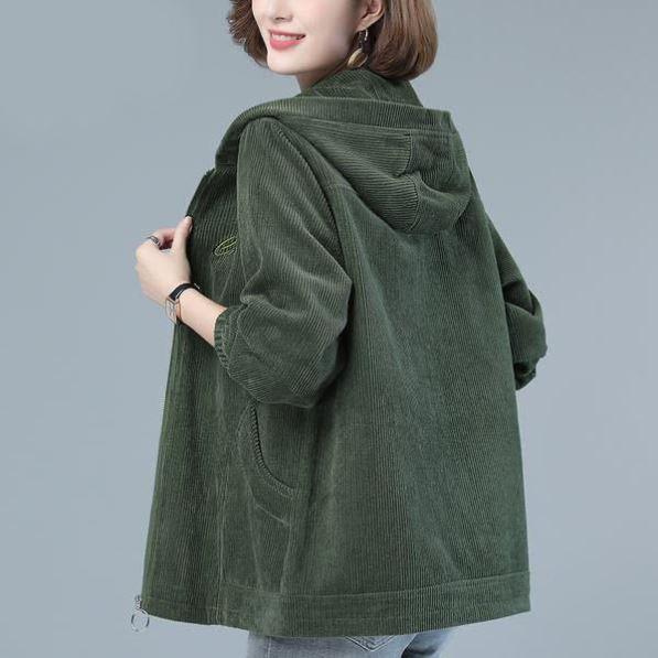 燈芯絨外套女春秋季2020年新款韓版寬松媽媽裝胖mm休閑二八月夾克
