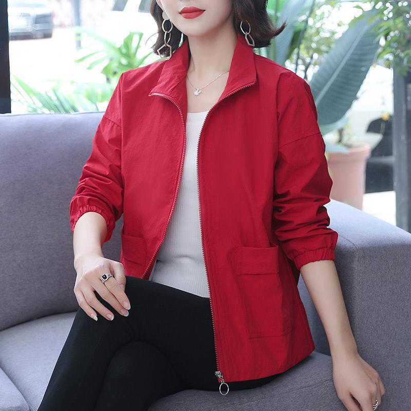 外套女春秋2020年新款短款夾克衫二八月女士秋季立領上衣胖mm寬松