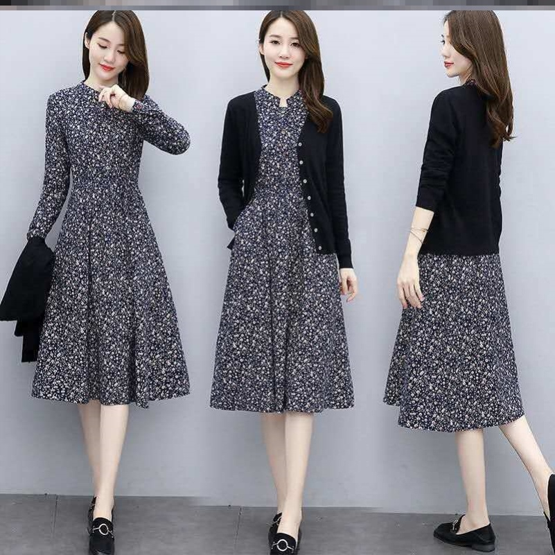棉麻連衣裙女兩件套秋裝2020年新款收腰顯瘦氣質長袖套裝裙子春秋