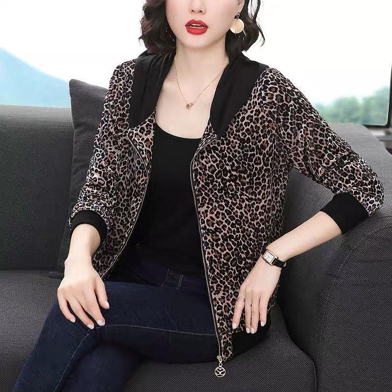 豹紋拉鏈開衫外套女連帽2020新款寬松大碼媽媽秋裝短款歐洲站上衣
