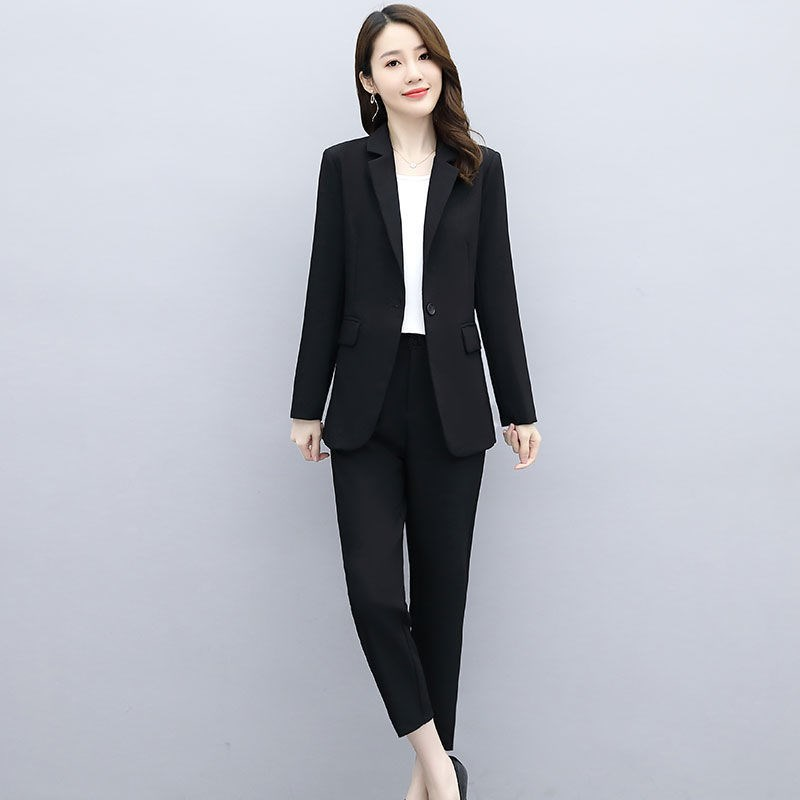 春秋職業套裝女2020新款顯瘦洋氣女神范職場正裝西服小腳褲兩件套