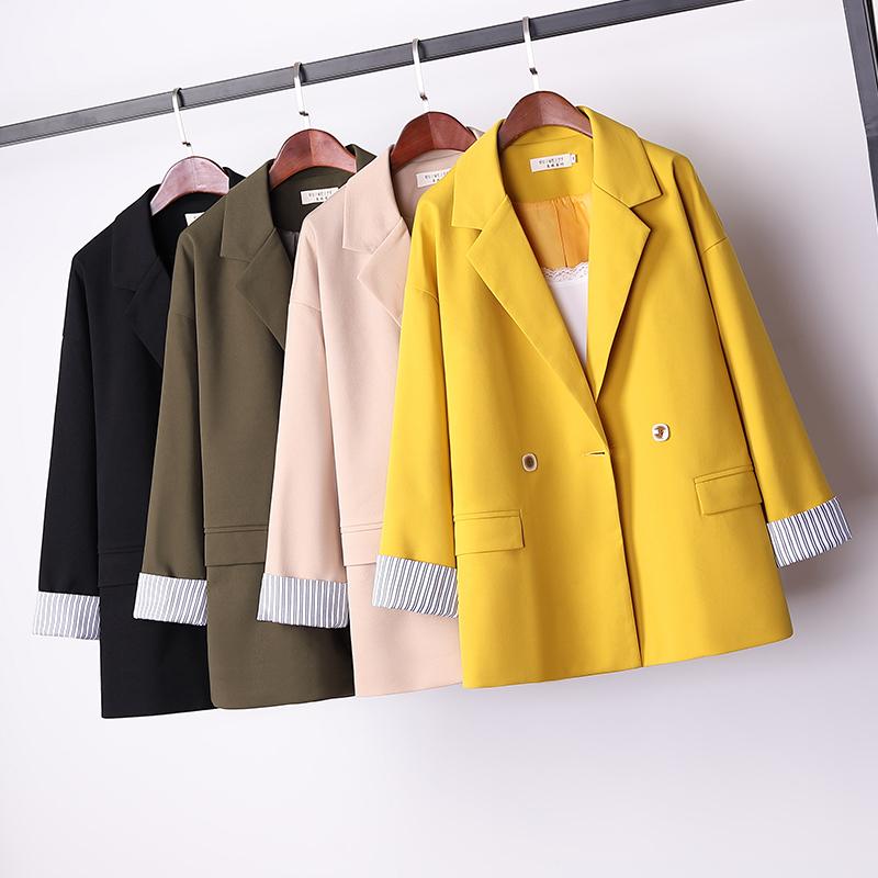 2020韓版中長款寬松棉麻西裝外套大碼女裝秋季休閑收腰小西服開衫