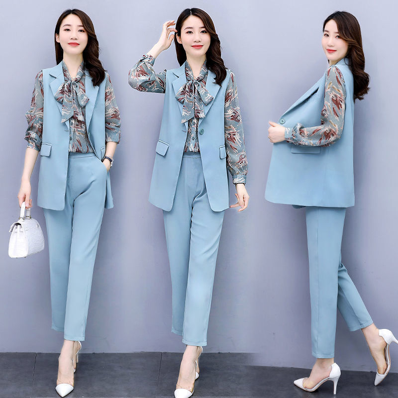 休閑時尚套裝女秋裝2020年新款洋氣減齡雪紡襯衫兩件套馬甲三件套