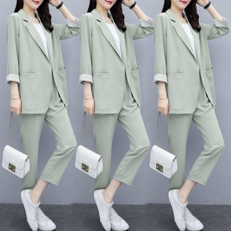 2020秋裝新款女神范西服套裝褲女氣質白領兩件套九分褲職業套裝女