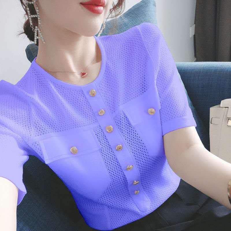 鏤空冰絲針織衫!仙氣滿滿~2020夏新款薄款針織上衣洋氣T恤ins潮