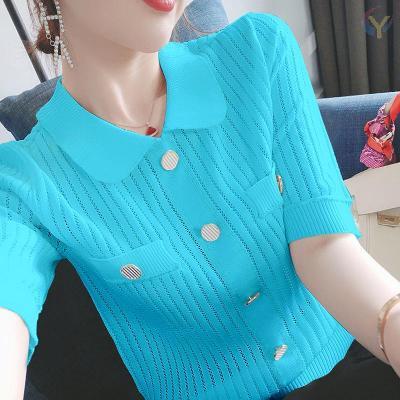 冰絲鏤空上衣女寬松2020夏新款氣質小香風短袖T恤薄款針織空調衫