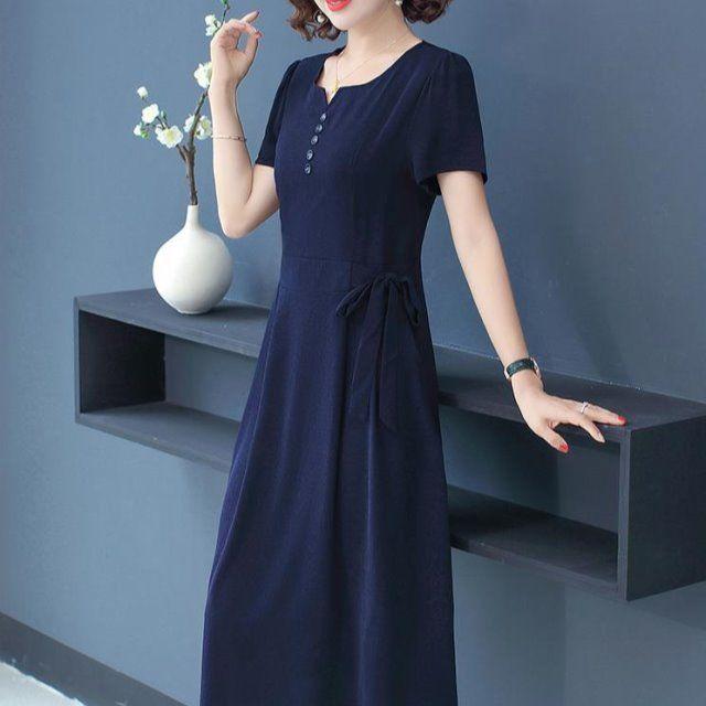 中年女媽媽夏裝短袖氣質連衣裙高貴40歲50洋氣裙子2020新款闊太太