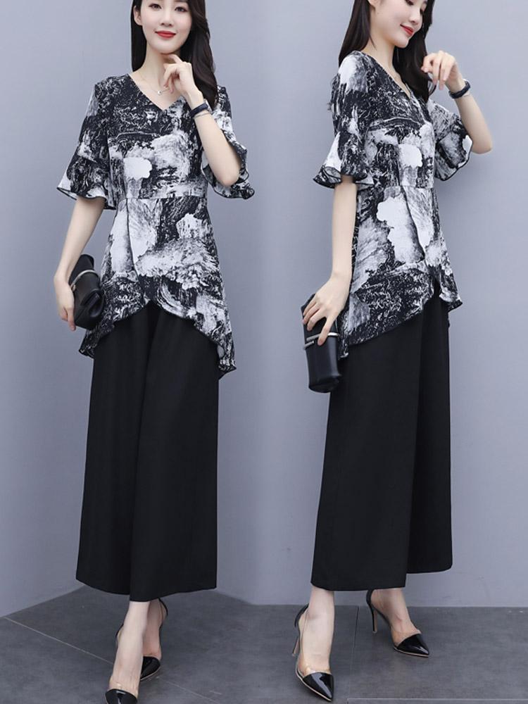 套裝 時尚闊腿褲2020夏季新款遮肚子顯瘦印花雪紡兩件套