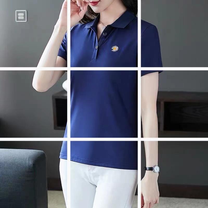纯棉短袖t恤女夏装2020年韩版宽松休闲POLO衫时尚妈妈装上衣潮