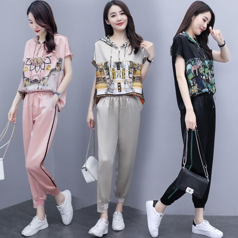 歐洲站2020夏季新款減齡套裝女韓版寬松顯瘦洋氣時尚垂感兩件套潮