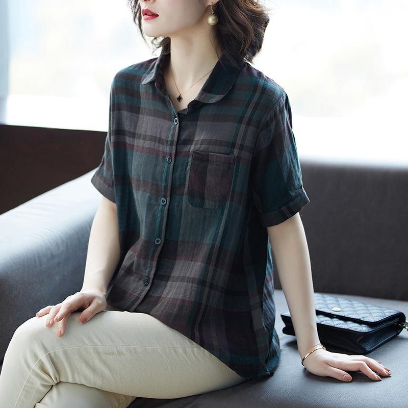 短袖格子襯衫2020夏季韓版大碼寬松復古純棉襯衣百搭休閑上衣女潮