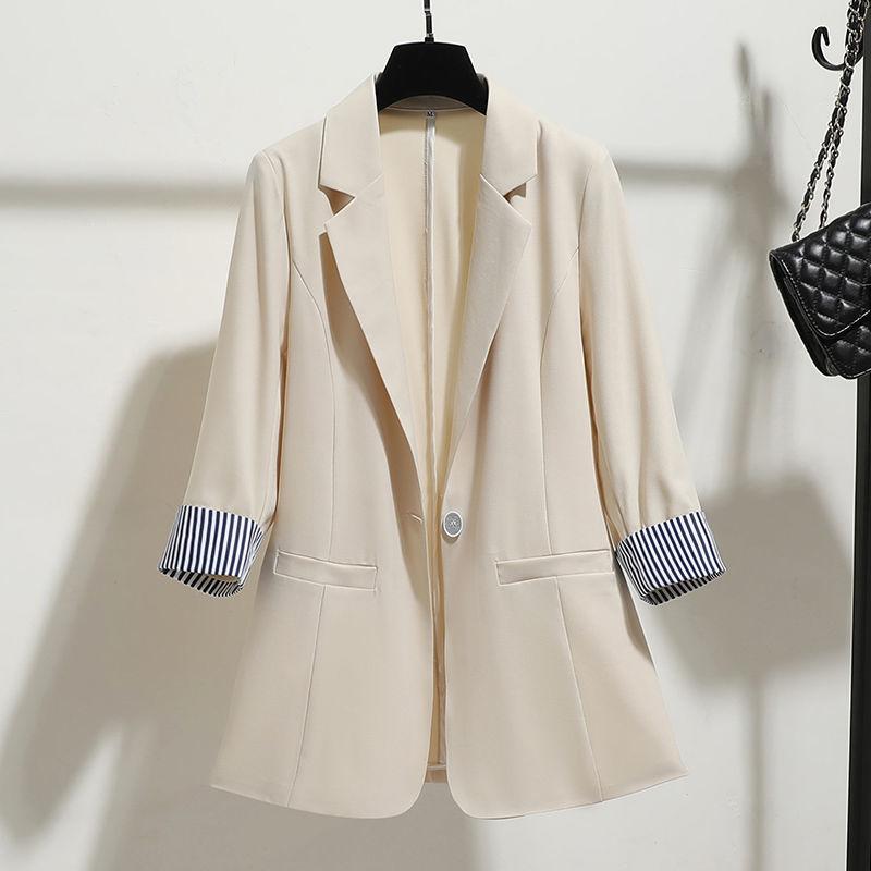 小西裝外套女2020年春夏季新款韓版修身垂感薄款七分袖西服上衣