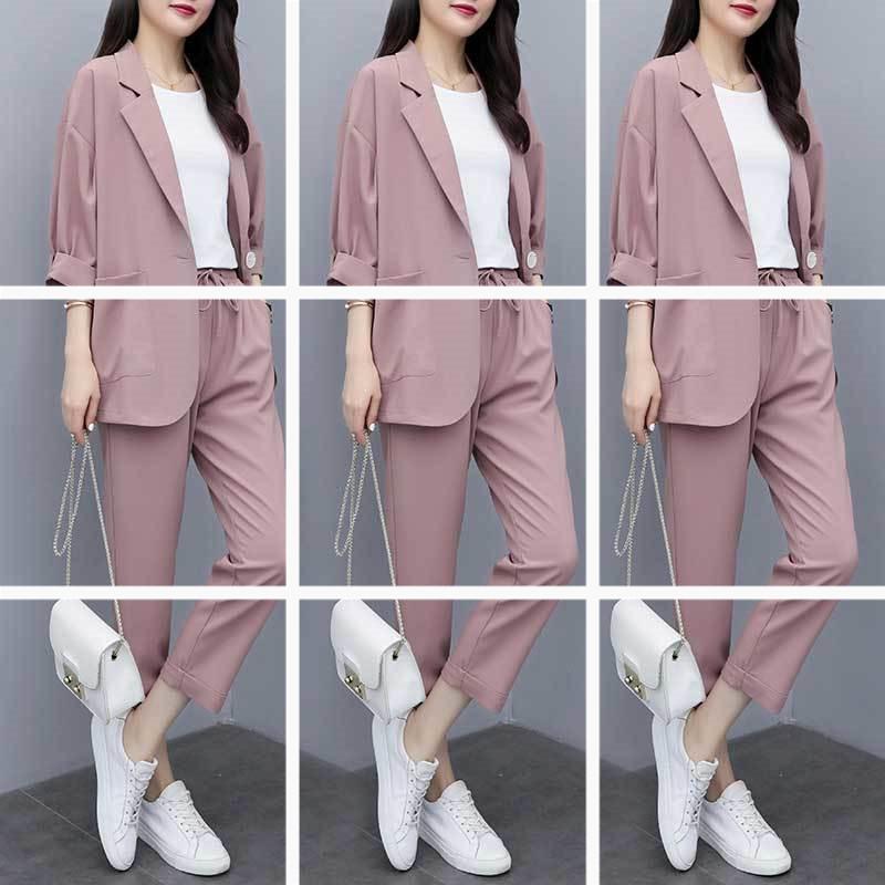2020新款小西裝外套女兩件套大碼韓版寬松顯瘦休閑西服套裝女減齡