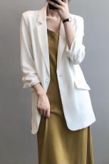 实拍控价115~春季新款小西装女韩版纯色时尚薄款垂感西服防晒外套