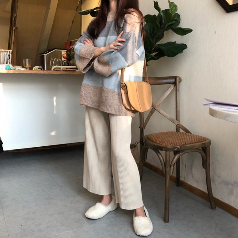 大码女装秋冬新款胖妹妹显瘦套装时尚慵懒风毛衣阔腿裤两件套洋气