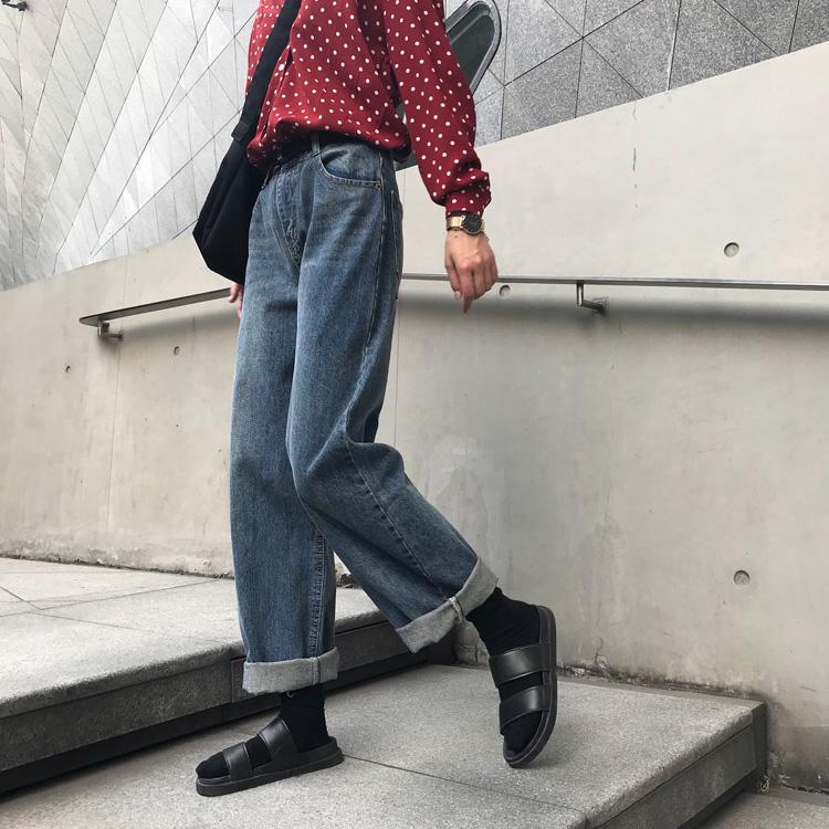闊腿牛仔褲女直筒寬松古著感褲子秋季高腰顯瘦老爹褲百搭卷邊長褲