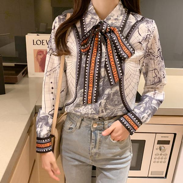 RS2273#真丝衬衫女春季新款高端长袖上衣印花气质翻领系带百搭衬衣女