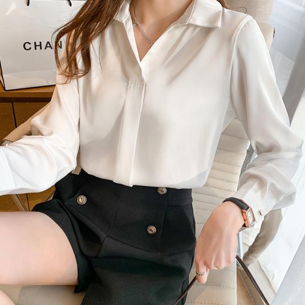 RS2275#韩版气质长袖衬衫上衣春秋新款缎面设计感小众简约雪纺衬衣女