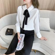 实拍2021春装新款上衣女宽松港味蝴蝶结雪纺小衫白色职业衬衫女