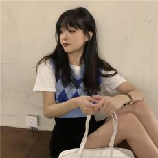 实拍实价 宽松百搭圆领白色T恤+蓝色菱格短款V领马甲背心