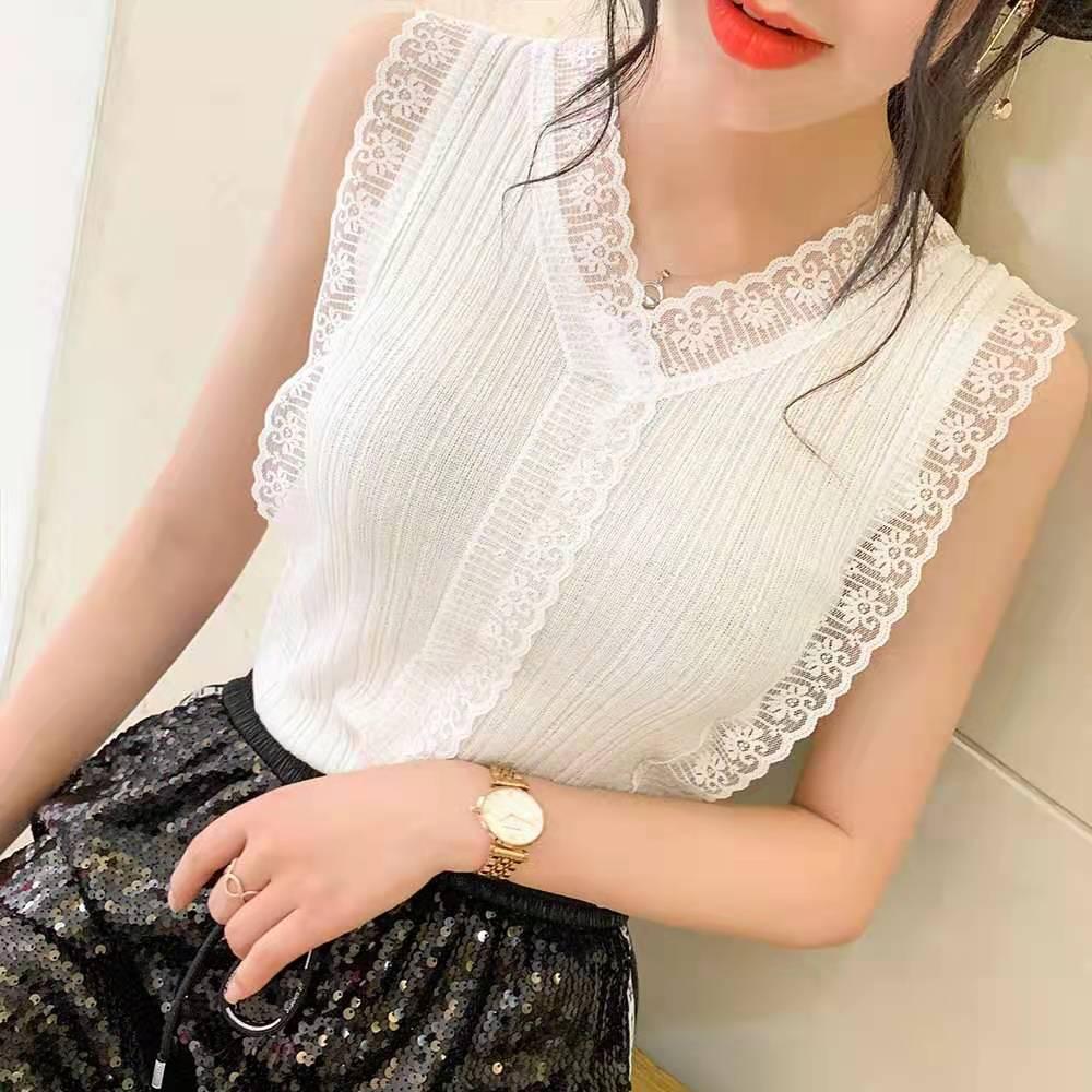 甜美V领镂空蕾丝针织小背心女韩版修身外穿内搭无袖上衣打底小衫