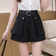 实拍2021新款西装短裤女夏宽松大码高腰五分直筒港味休闲中裤